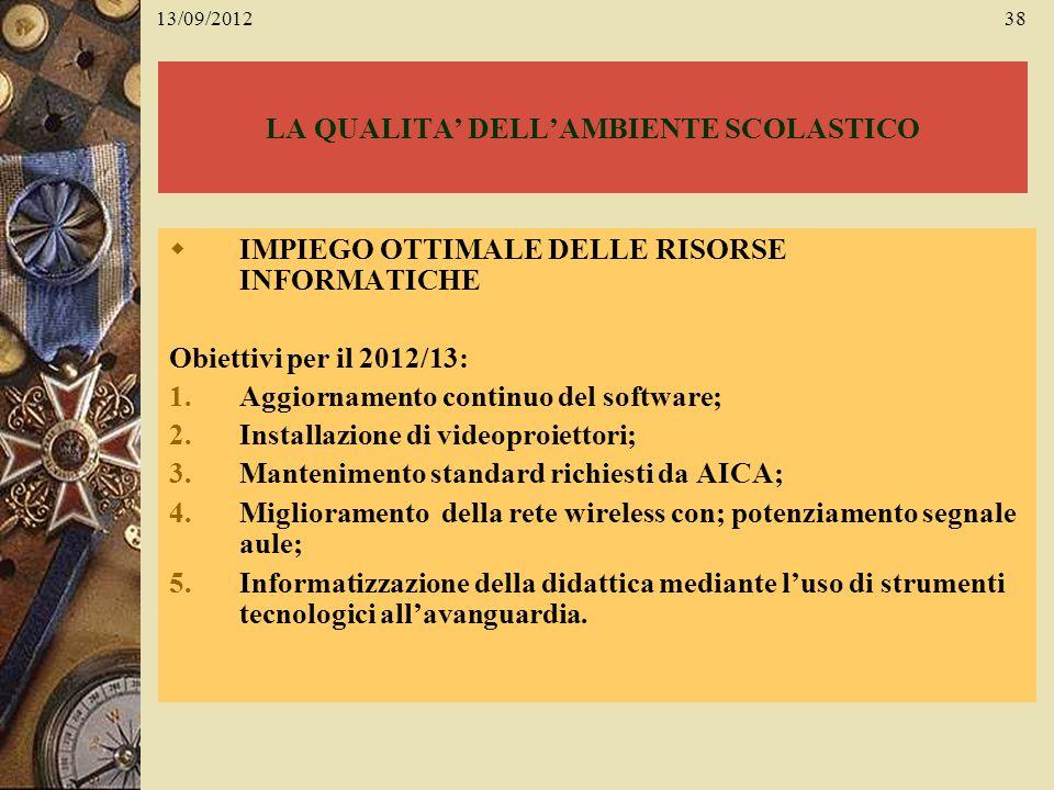 13/09/201238 LA QUALITA DELLAMBIENTE SCOLASTICO IMPIEGO OTTIMALE DELLE RISORSE INFORMATICHE Obiettivi per il 2012/13: 1.Aggiornamento continuo del sof