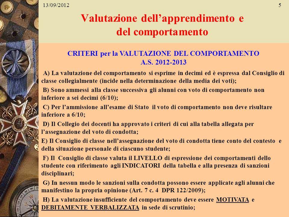 Valutazione dellapprendimento e del comportamento 13/09/20125 CRITERI per la VALUTAZIONE DEL COMPORTAMENTO A.S. 2012-2013 A) La valutazione del compor