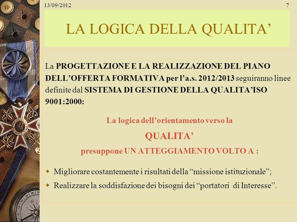 13/09/20127 LA LOGICA DELLA QUALITA La PROGETTAZIONE E LA REALIZZAZIONE DEL PIANO DELLOFFERTA FORMATIVA per la.s. 2012/2013 seguiranno linee definite