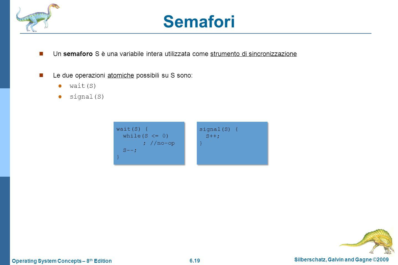 6.19 Silberschatz, Galvin and Gagne ©2009 Operating System Concepts – 8 th Edition Semafori Un semaforo S è una variabile intera utilizzata come strum