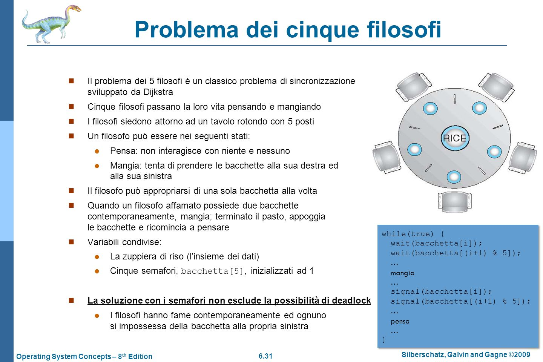 6.31 Silberschatz, Galvin and Gagne ©2009 Operating System Concepts – 8 th Edition Problema dei cinque filosofi Il problema dei 5 filosofi è un classi
