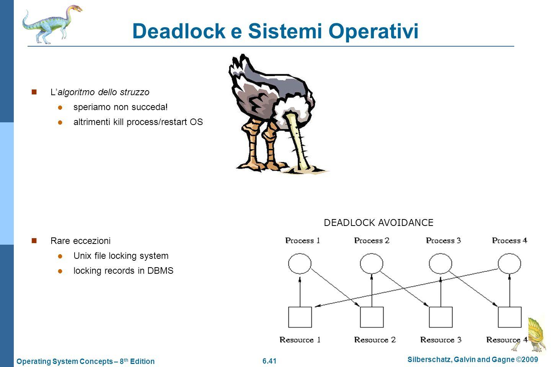 6.41 Silberschatz, Galvin and Gagne ©2009 Operating System Concepts – 8 th Edition Deadlock e Sistemi Operativi Lalgoritmo dello struzzo speriamo non
