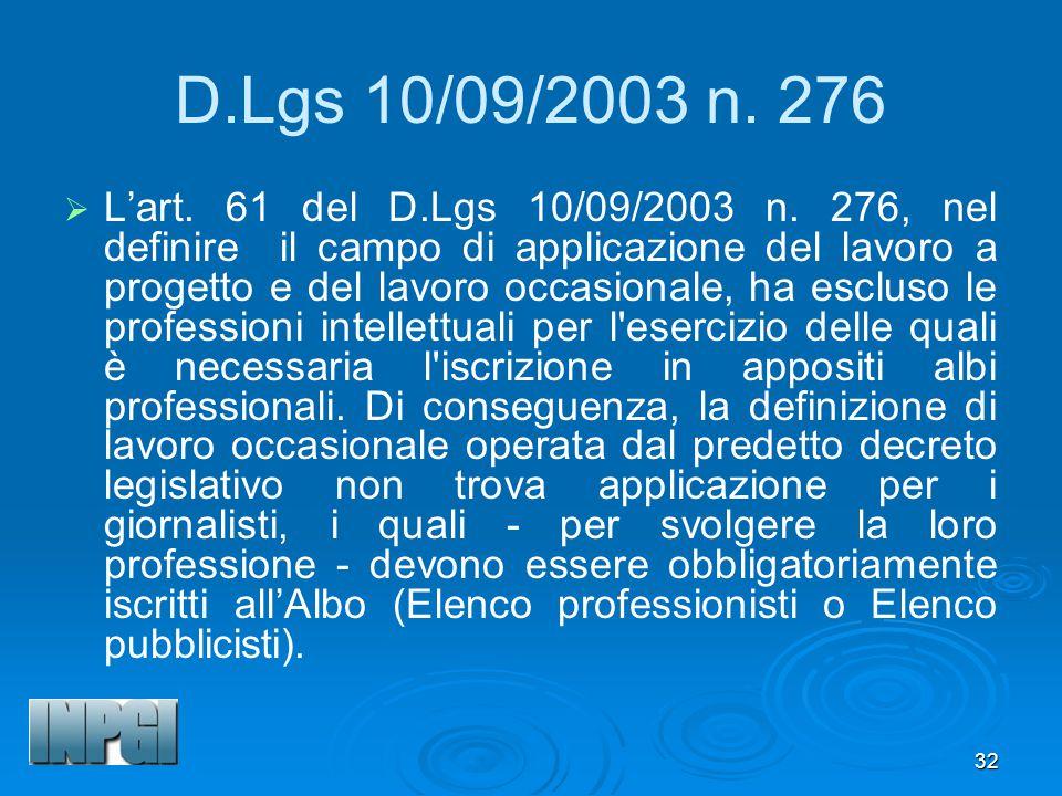 32 D.Lgs 10/09/2003 n.276 Lart. 61 del D.Lgs 10/09/2003 n.