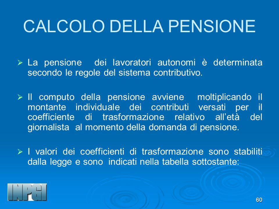 60 CALCOLO DELLA PENSIONE La pensione dei lavoratori autonomi è determinata secondo le regole del sistema contributivo.