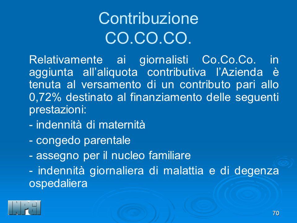 70 Contribuzione CO.CO.CO.Relativamente ai giornalisti Co.Co.Co.