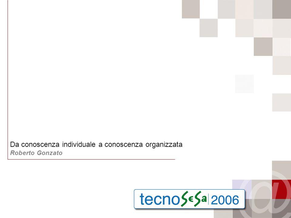 Da conoscenza individuale a conoscenza organizzata Roberto Gonzato