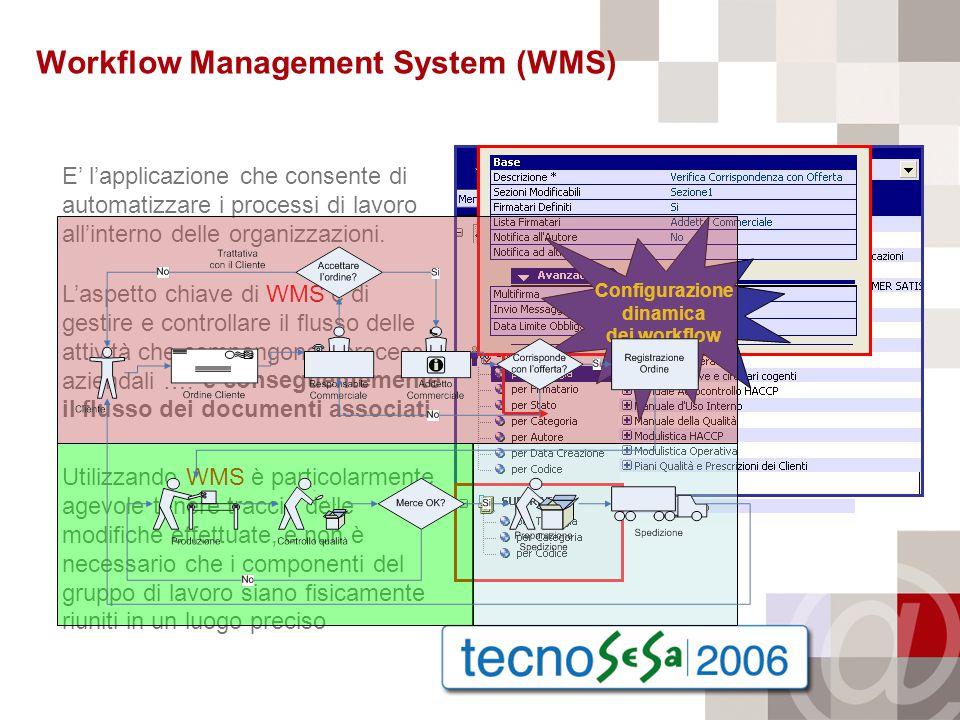Utilizzando WMS è particolarmente agevole tenere traccia delle modifiche effettuate, e non è necessario che i componenti del gruppo di lavoro siano fisicamente riuniti in un luogo preciso e conseguentemente il flusso dei documenti associati.