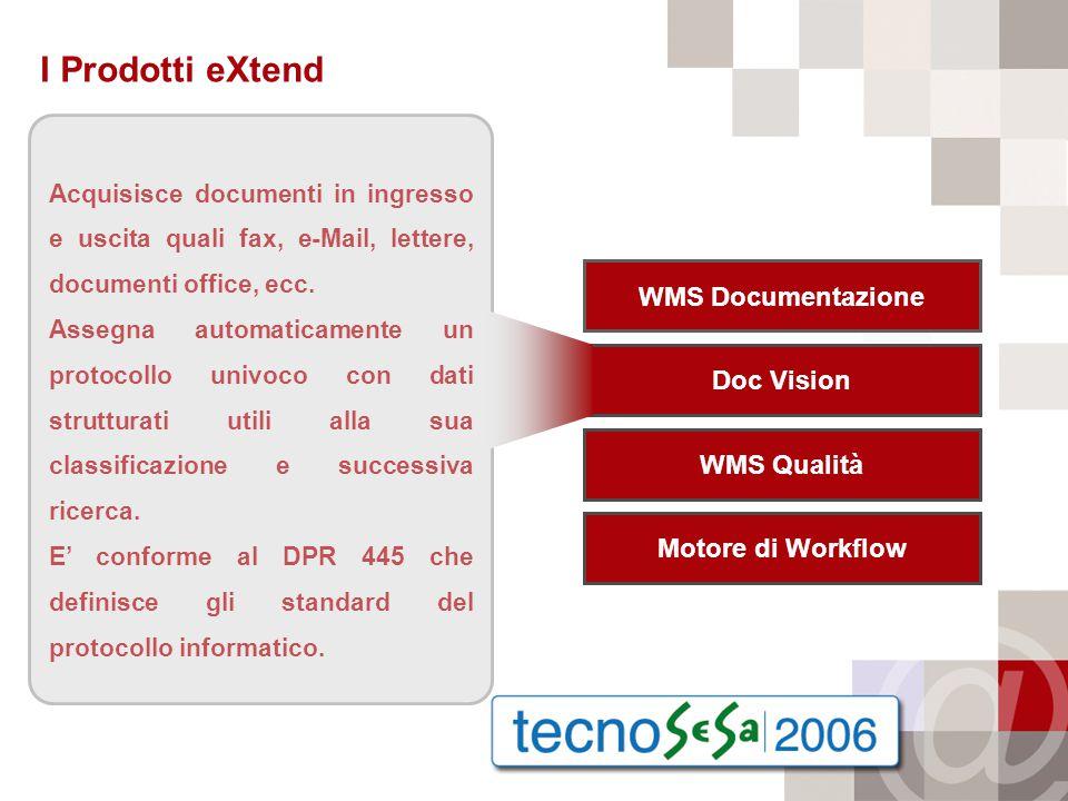 I Prodotti eXtend Acquisisce documenti in ingresso e uscita quali fax, e-Mail, lettere, documenti office, ecc.