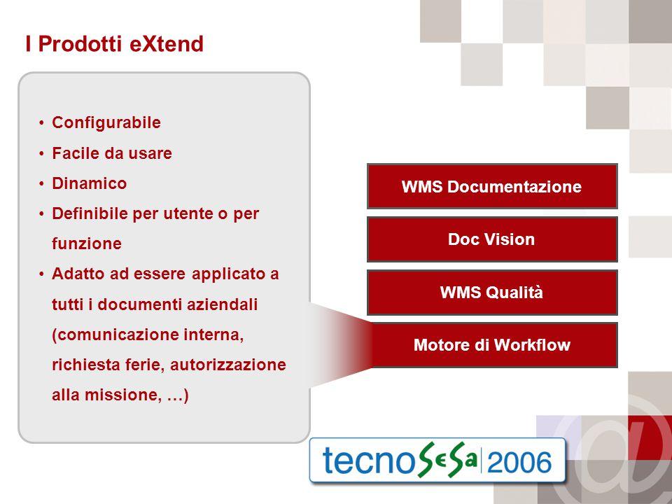 I Prodotti eXtend WMS Documentazione Doc Vision WMS Qualità Motore di Workflow Configurabile Facile da usare Dinamico Definibile per utente o per funzione Adatto ad essere applicato a tutti i documenti aziendali (comunicazione interna, richiesta ferie, autorizzazione alla missione, …)