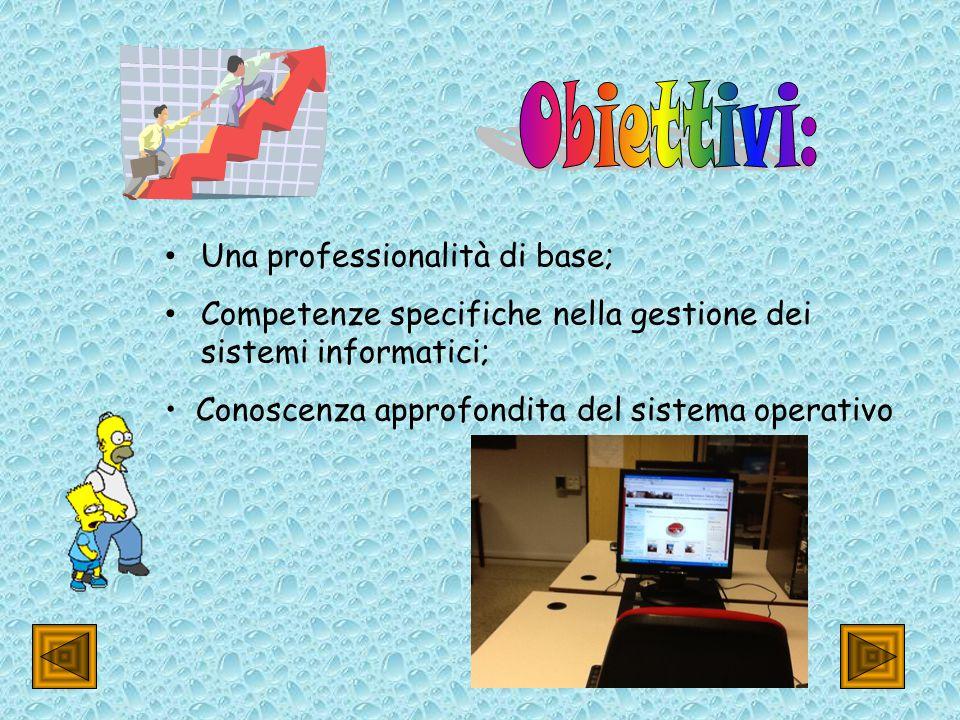 Una professionalità di base; Competenze specifiche nella gestione dei sistemi informatici; Conoscenza approfondita del sistema operativo