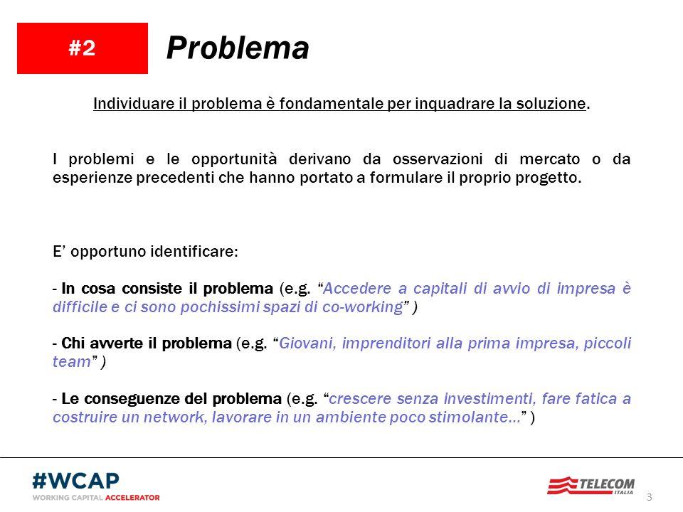 3 #2 Problema Individuare il problema è fondamentale per inquadrare la soluzione. I problemi e le opportunità derivano da osservazioni di mercato o da