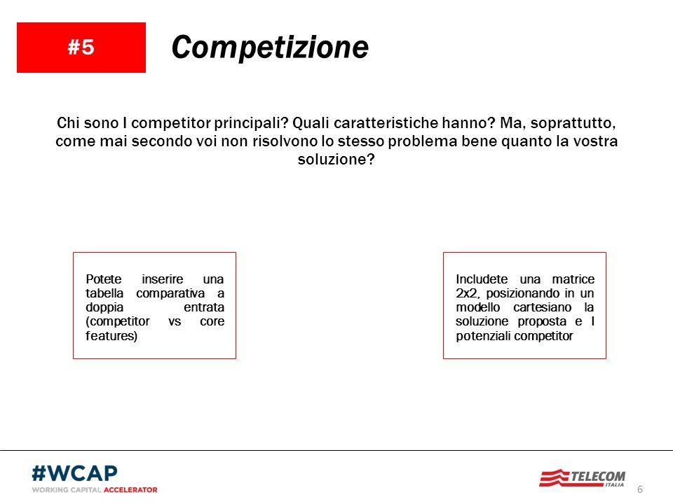 6 #5 Competizione Chi sono I competitor principali? Quali caratteristiche hanno? Ma, soprattutto, come mai secondo voi non risolvono lo stesso problem