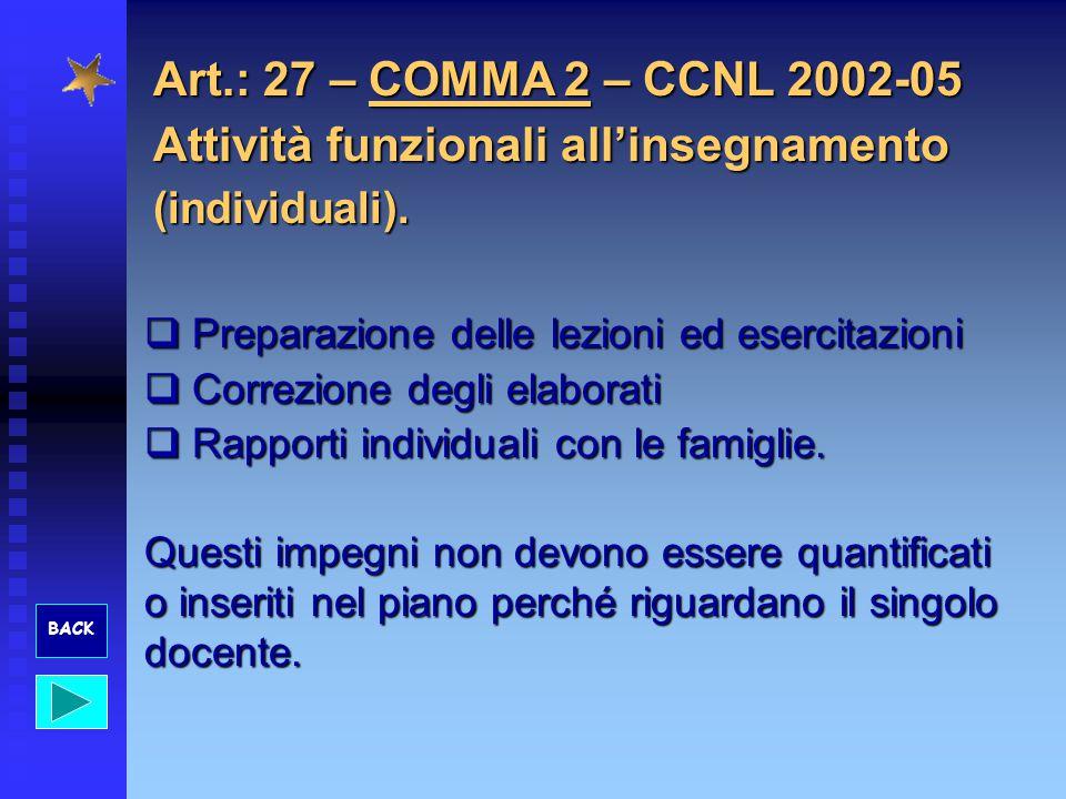 Art.: 27 – COMMA 2 – CCNL 2002-05 Attività funzionali allinsegnamento (individuali). Preparazione delle lezioni ed esercitazioni Preparazione delle le