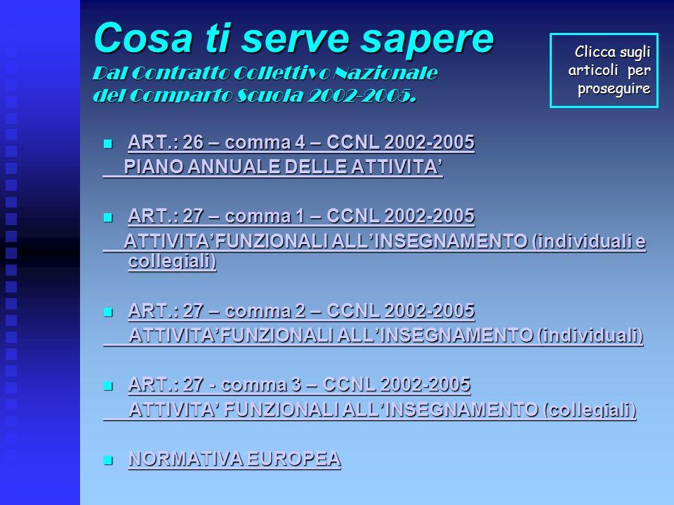 Cosa ti serve sapere Dal Contratto Collettivo Nazionale del Comparto Scuola 2002-2005. ART.: 26 – comma 4 – CCNL 2002-2005 ART.: 26 – comma 4 – CCNL 2
