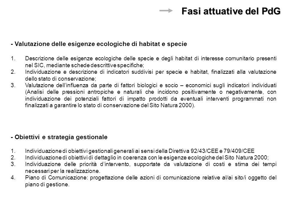 - Obiettivi e strategia gestionale 1.Individuazione di obiettivi gestionali generali ai sensi della Direttiva 92/43/CEE e 79/409/CEE 2.Individuazione di obiettivi di dettaglio in coerenza con le esigenze ecologiche del Sito Natura 2000; 3.Individuazione delle priorità dintervento, supportate da valutazione di costi e stima dei tempi necessari per la realizzazione.