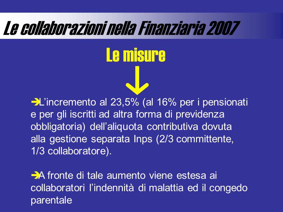 Le collaborazioni nella Finanziaria 2007 Lincremento al 23,5% (al 16% per i pensionati e per gli iscritti ad altra forma di previdenza obbligatoria) dellaliquota contributiva dovuta alla gestione separata Inps (2/3 committente, 1/3 collaboratore).