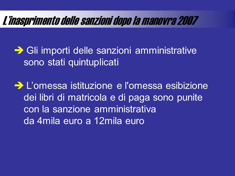 Linasprimento delle sanzioni dopo la manovra 2007 Gli importi delle sanzioni amministrative sono stati quintuplicati Lomessa istituzione e l'omessa es