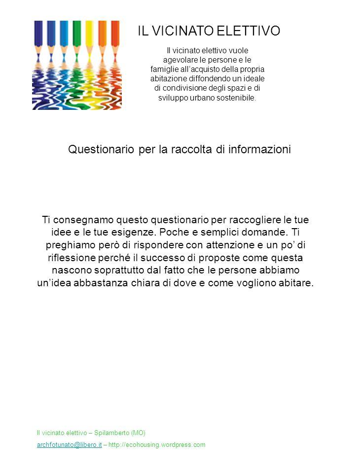 IL VICINATO ELETTIVO Questionario per la raccolta di informazioni Il vicinato elettivo vuole agevolare le persone e le famiglie allacquisto della prop