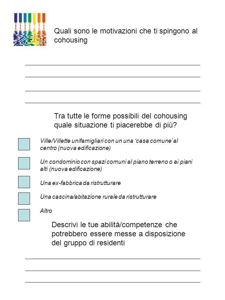 Quali sono le motivazioni che ti spingono al cohousing Tra tutte le forme possibili del cohousing quale situazione ti piacerebbe di più? Ville/Villett