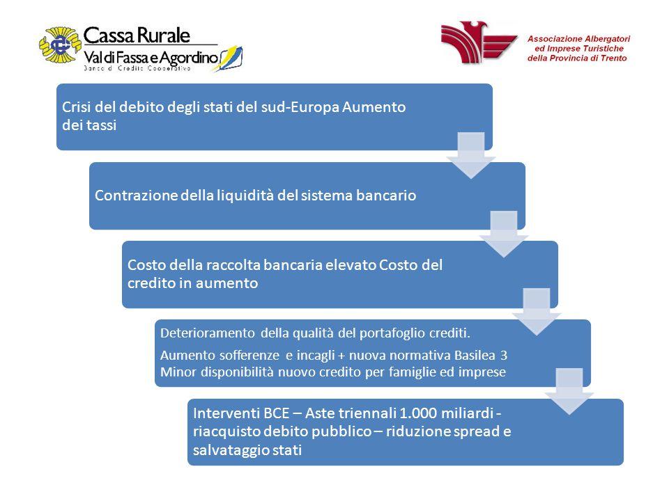 Crisi del debito degli stati del sud-Europa Aumento dei tassi Contrazione della liquidità del sistema bancario Costo della raccolta bancaria elevato Costo del credito in aumento Deterioramento della qualità del portafoglio crediti.