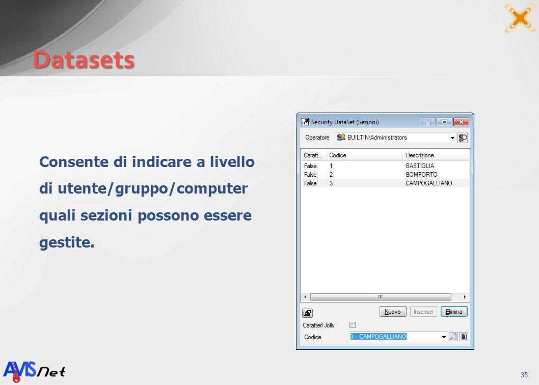 Datasets 35 Consente di indicare a livello di utente/gruppo/computer quali sezioni possono essere gestite.