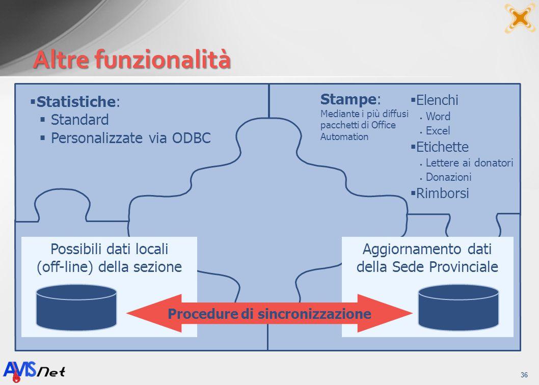 Altre funzionalità 36 Personalizzazione delle comunicazioni ai Donatori (stampa unione) Stampe: Mediante i più diffusi pacchetti di Office Automation