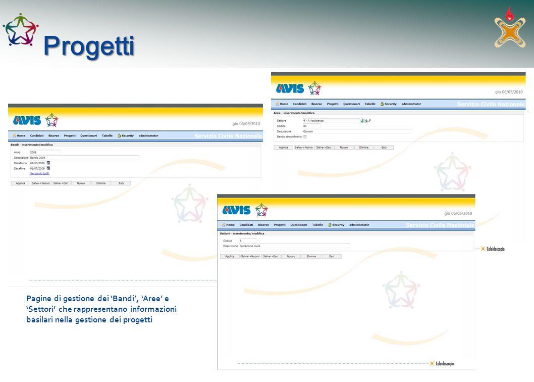 Progetti Pagine di gestione dei Bandi, Aree e Settori che rappresentano informazioni basilari nella gestione dei progetti