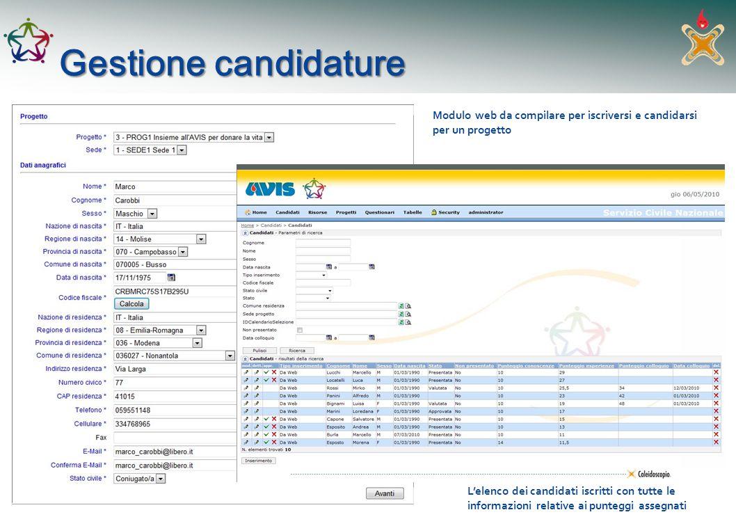 Gestione candidature Modulo web da compilare per iscriversi e candidarsi per un progetto Lelenco dei candidati iscritti con tutte le informazioni rela