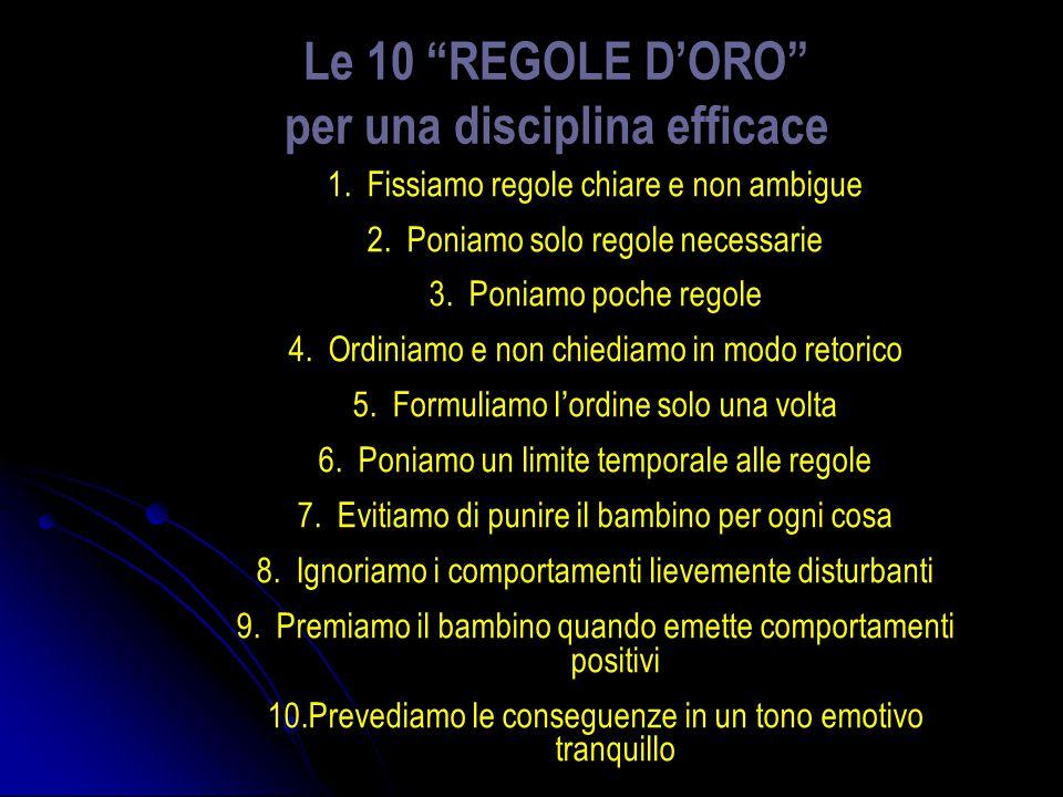Le 10 REGOLE DORO per una disciplina efficace 1.Fissiamo regole chiare e non ambigue 2.Poniamo solo regole necessarie 3.Poniamo poche regole 4.Ordinia