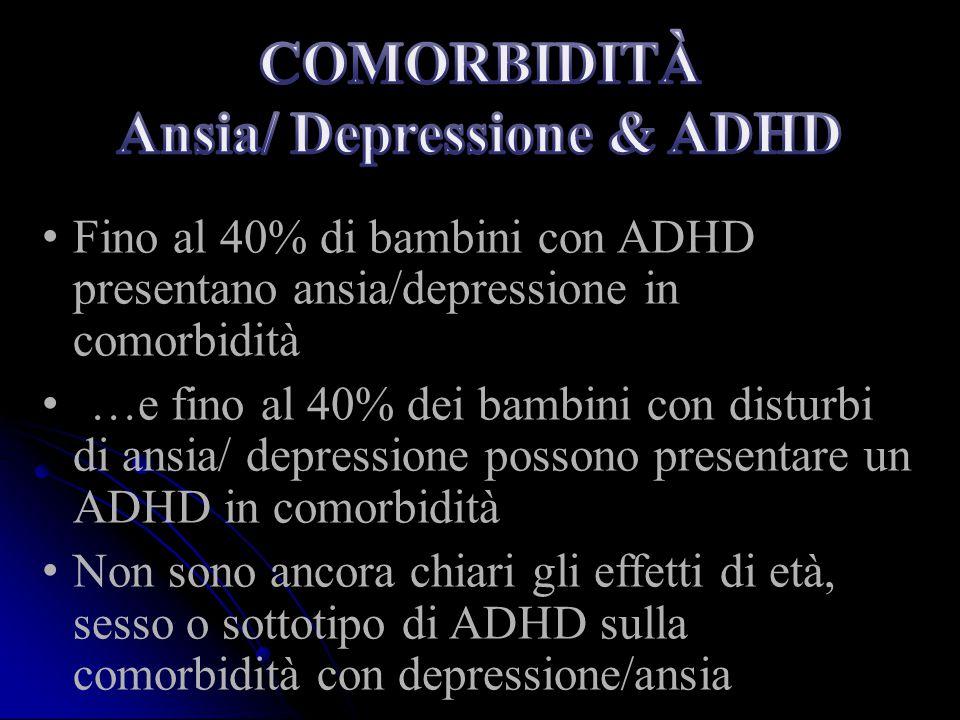 Fino al 40% di bambini con ADHD presentano ansia/depressione in comorbidità …e fino al 40% dei bambini con disturbi di ansia/ depressione possono pres