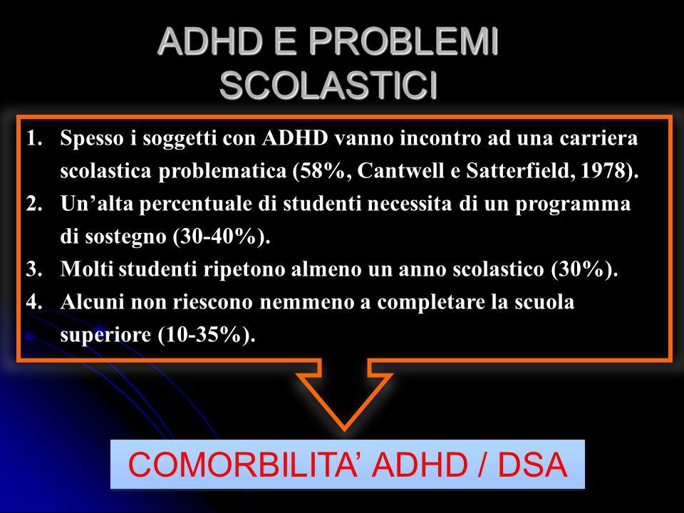 ADHD E PROBLEMI SCOLASTICI 1.Spesso i soggetti con ADHD vanno incontro ad una carriera scolastica problematica (58%, Cantwell e Satterfield, 1978). 2.