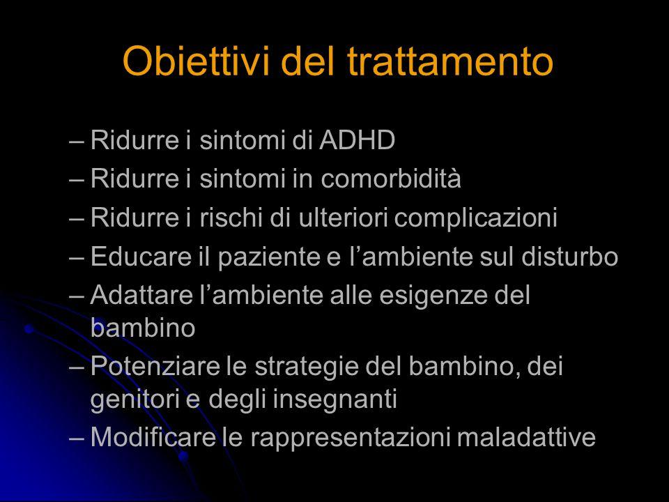 Obiettivi del trattamento –Ridurre i sintomi di ADHD –Ridurre i sintomi in comorbidità –Ridurre i rischi di ulteriori complicazioni –Educare il pazien