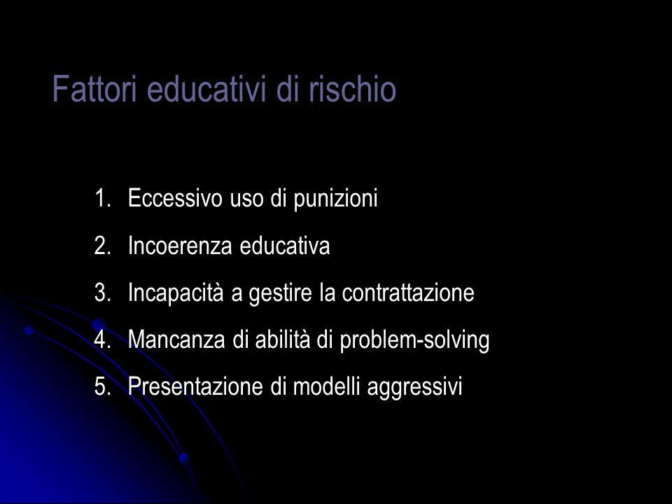 Fattori educativi di rischio 1.Eccessivo uso di punizioni 2.Incoerenza educativa 3.Incapacità a gestire la contrattazione 4.Mancanza di abilità di pro