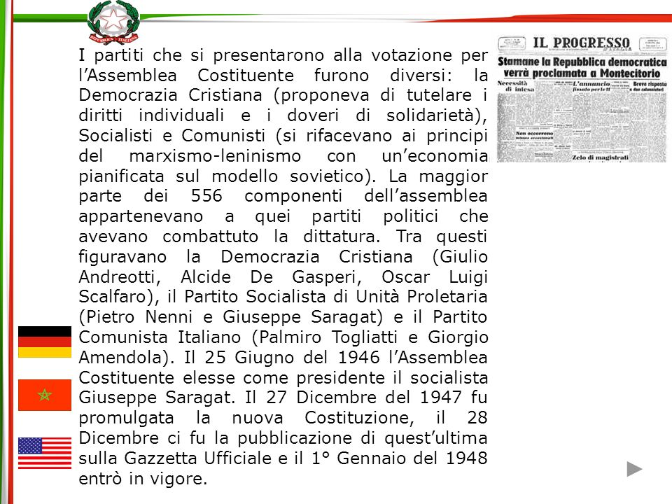 1.Repubblica e Sovranità PREAMBLE We the People of the United States, in Order to form a more perfect Union, establish Justice, insure domestic Tranquility, provide for the common defense, promote the general Welfare, and secure the Blessings of Liberty to ourselves and our Posterity, do ordain and establish this Constitution for the United States of America.