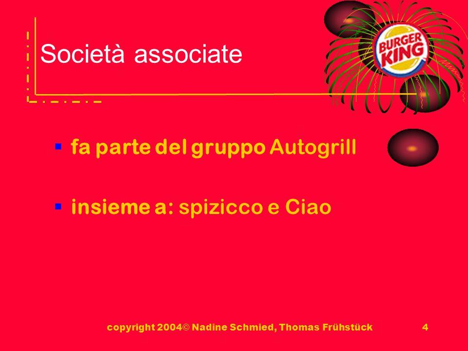 copyright 2004© Nadine Schmied, Thomas Frühstück4 Società associate fa parte del gruppo Autogrill insieme a: spizicco e Ciao