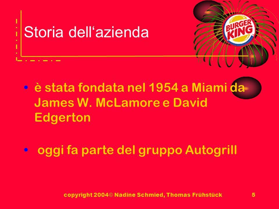 copyright 2004© Nadine Schmied, Thomas Frühstück5 Storia dellazienda è stata fondata nel 1954 a Miami da James W.