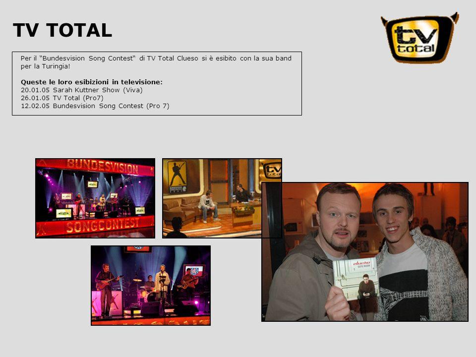 Per il Bundesvision Song Contest di TV Total Clueso si è esibito con la sua band per la Turingia.