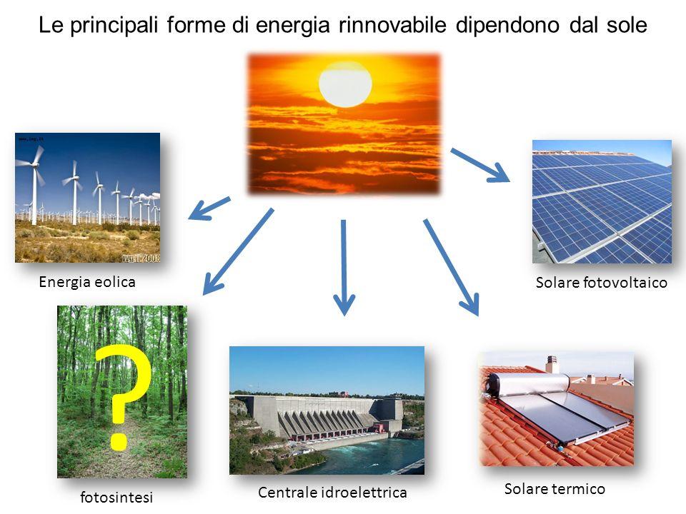 Le principali forme di energia rinnovabile dipendono dal sole Solare fotovoltaico Solare termico Centrale idroelettrica fotosintesi Energia eolica ?
