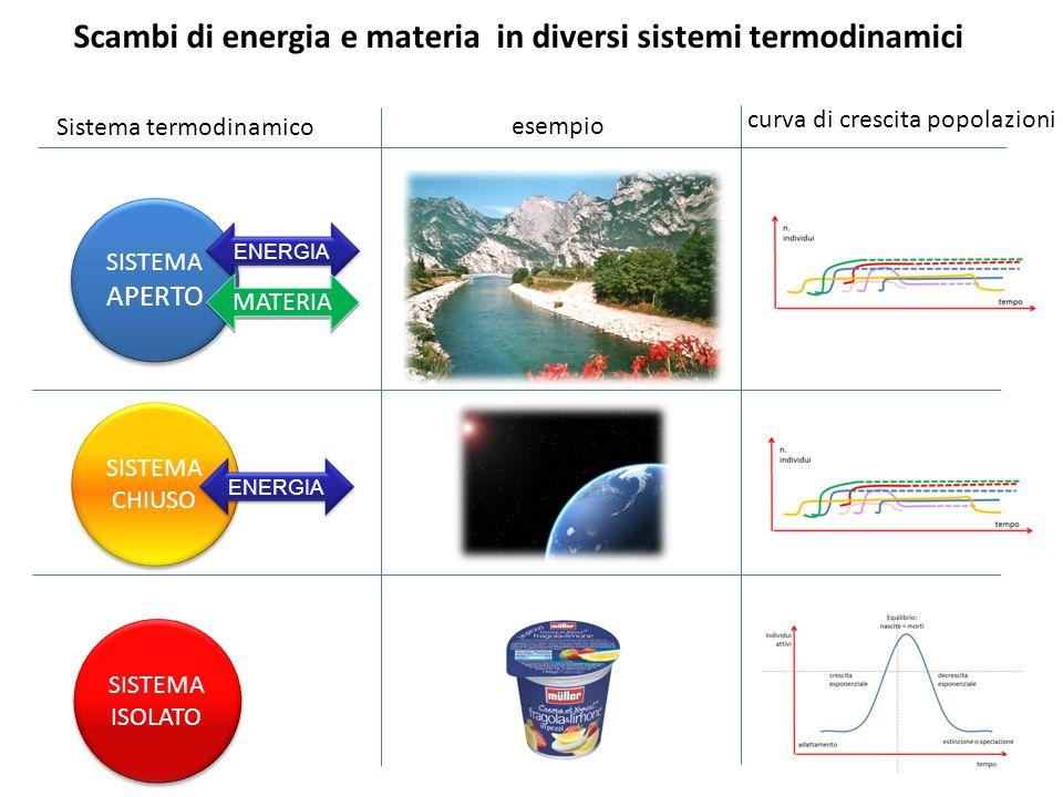 SISTEMA APERTO SISTEMA APERTO ENERGIA MATERIA SISTEMA CHIUSO SISTEMA CHIUSO ENERGIA SISTEMA ISOLATO SISTEMA ISOLATO Scambi di energia e materia in div