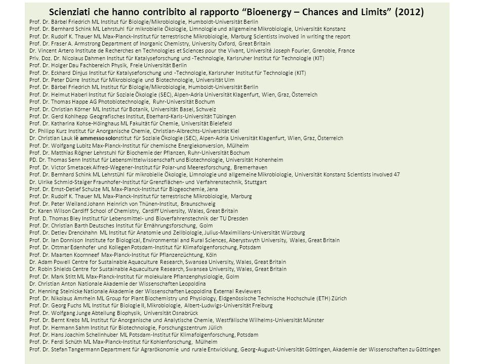 Scienziati che hanno contribito al rapporto Bioenergy – Chances and Limits (2012) Prof. Dr. Bärbel Friedrich ML Institut für Biologie/Mikrobiologie, H