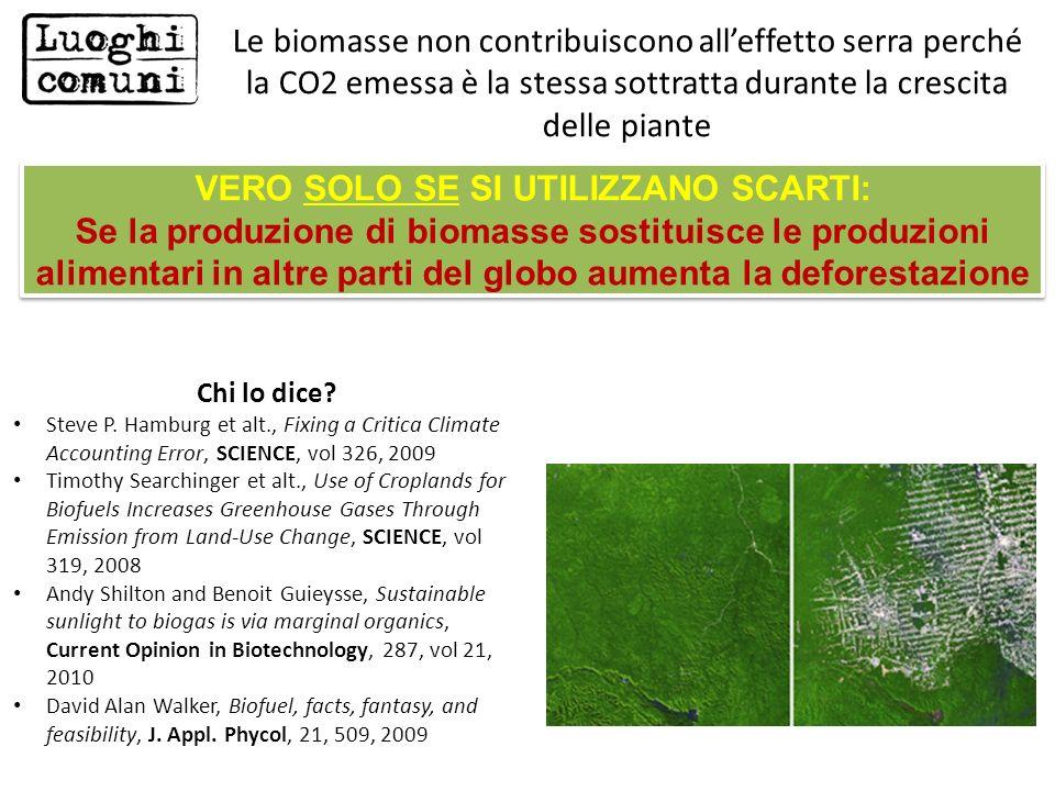 VERO SOLO SE SI UTILIZZANO SCARTI: Se la produzione di biomasse sostituisce le produzioni alimentari in altre parti del globo aumenta la deforestazion