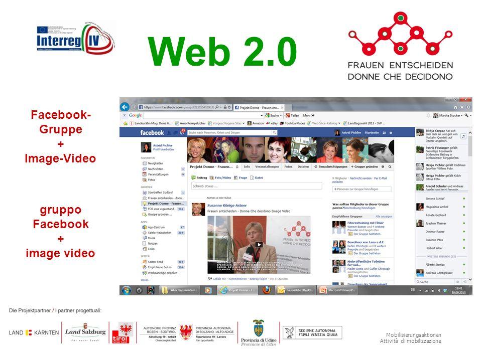 Mobilisierungsaktionen Attività di mobilizzazione Web 2.0 Facebook- Gruppe + Image-Video gruppo Facebook + image video