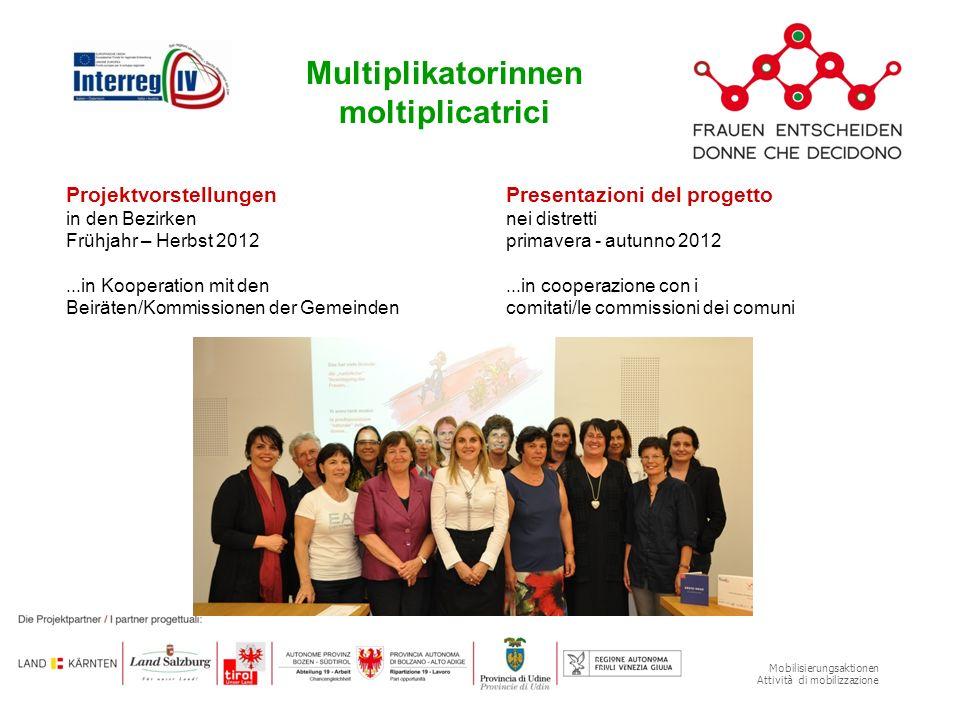 Mobilisierungsaktionen Attività di mobilizzazione Projektvorstellungen in den Bezirken Frühjahr – Herbst 2012...in Kooperation mit den Beiräten/Kommis