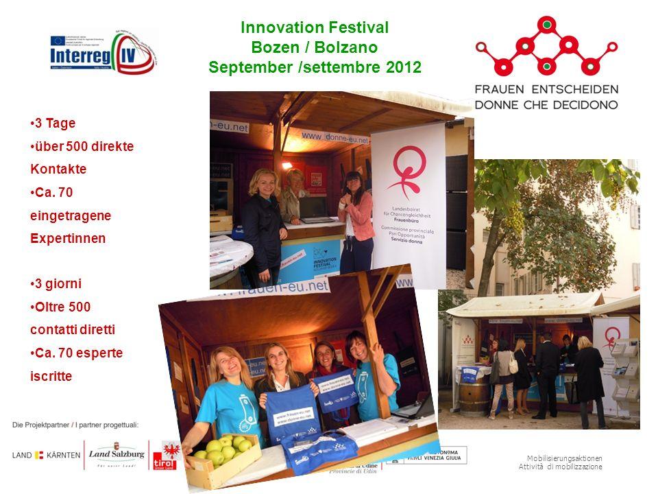 Mobilisierungsaktionen Attività di mobilizzazione Innovation Festival Bozen / Bolzano September /settembre 2012 3 Tage über 500 direkte Kontakte Ca. 7