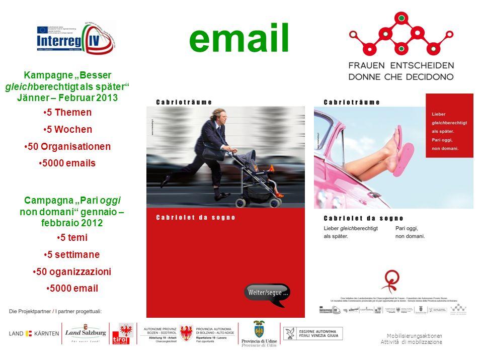 Mobilisierungsaktionen Attività di mobilizzazione email Kampagne Besser gleichberechtigt als später Jänner – Februar 2013 5 Themen 5 Wochen 50 Organis