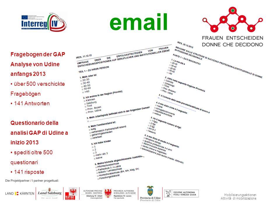 Mobilisierungsaktionen Attività di mobilizzazione Fragebogen der GAP Analyse von Udine anfangs 2013 über 500 verschickte Fragebögen 141 Antworten emai