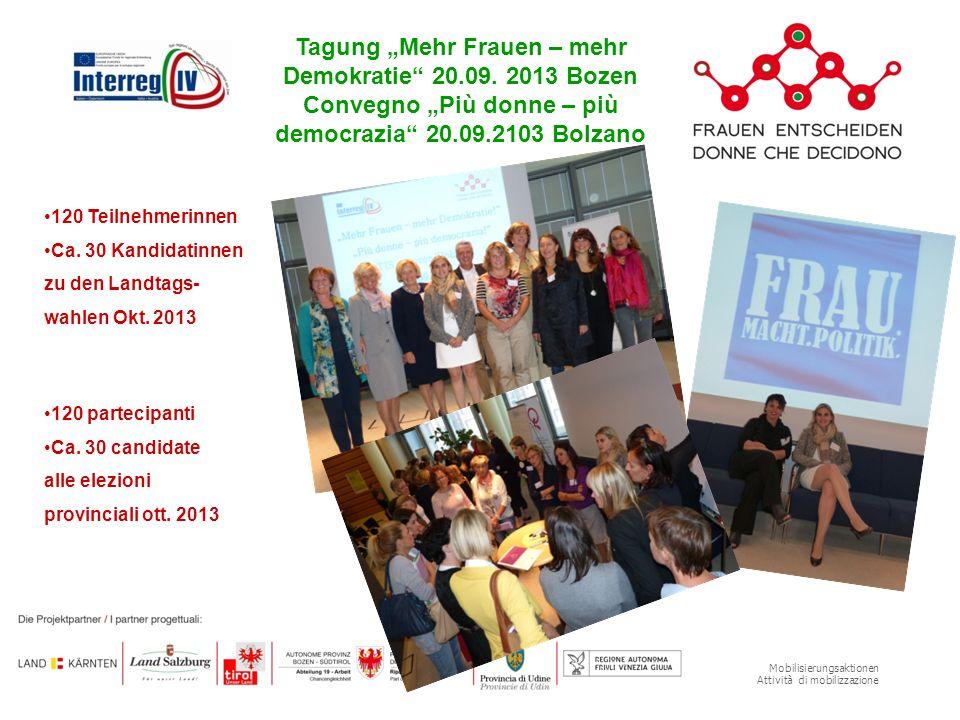 Mobilisierungsaktionen Attività di mobilizzazione Tagung Mehr Frauen – mehr Demokratie 20.09. 2013 Bozen Convegno Più donne – più democrazia 20.09.210