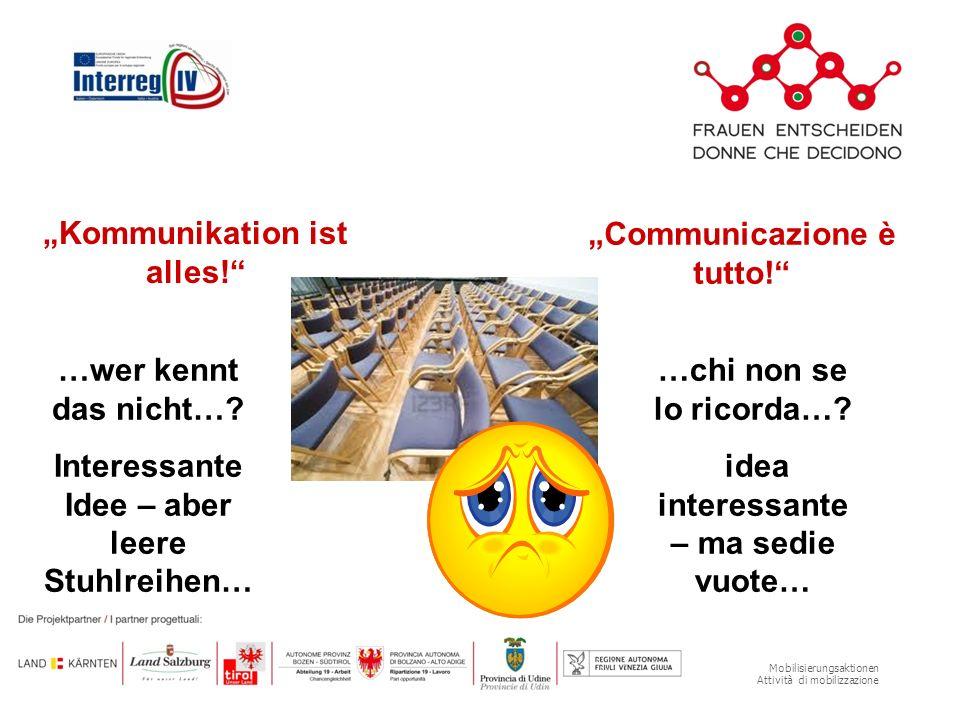 Mobilisierungsaktionen Attività di mobilizzazione Kommunikation ist alles! Communicazione è tutto! …wer kennt das nicht…? Interessante Idee – aber lee