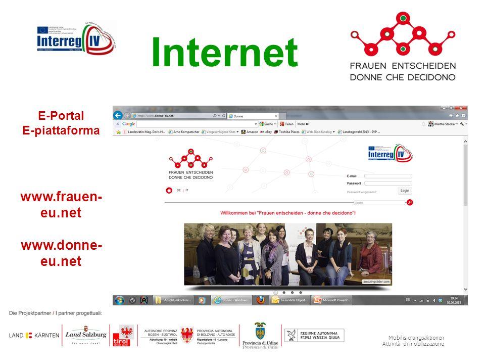 Mobilisierungsaktionen Attività di mobilizzazione Internet E-Portal E-piattaforma www.frauen- eu.net www.donne- eu.net