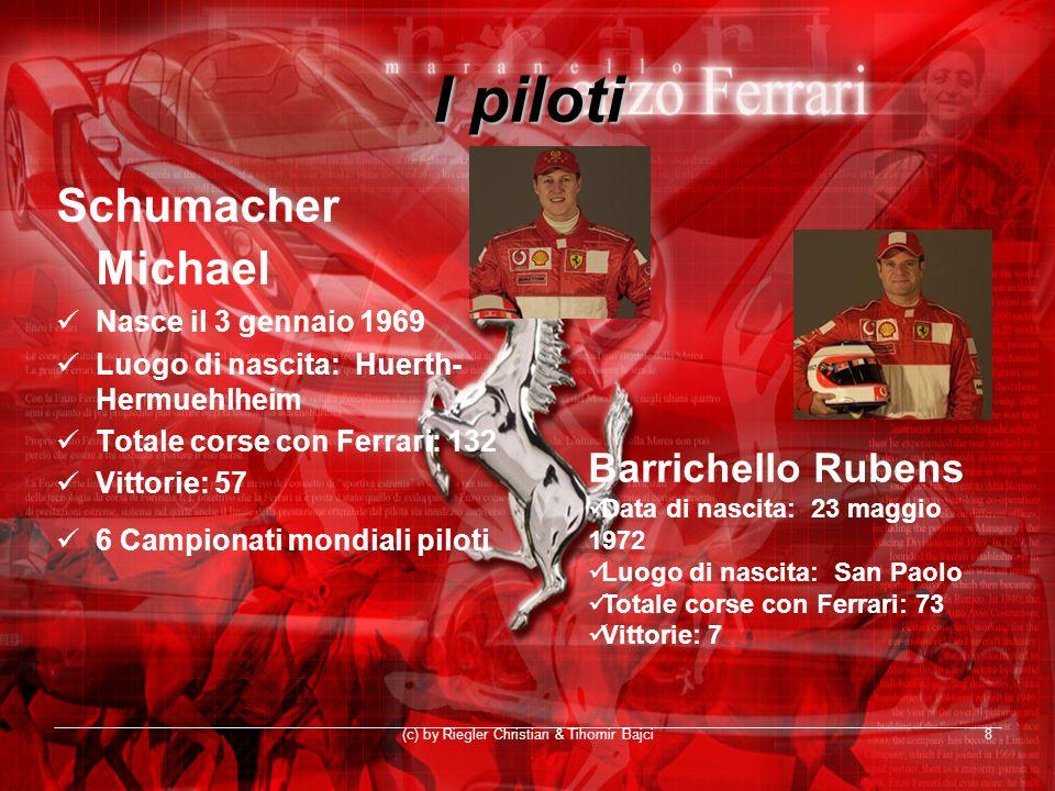 (c) by Riegler Christian & Tihomir Bajci8 I piloti Schumacher Michael Nasce il 3 gennaio 1969 Luogo di nascita: Huerth- Hermuehlheim Totale corse con